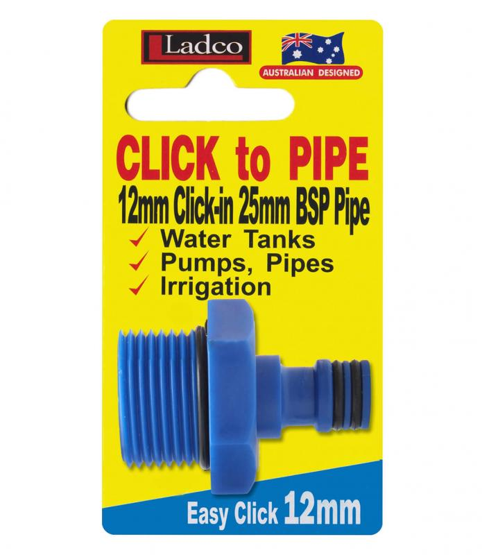 2x Ladco CLICK TO PIPE HOSE FITTING ADAPTER 12x25mm Blue *Australian Brand
